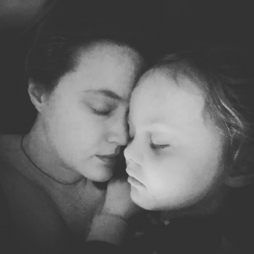 Snuggling my sleeping child