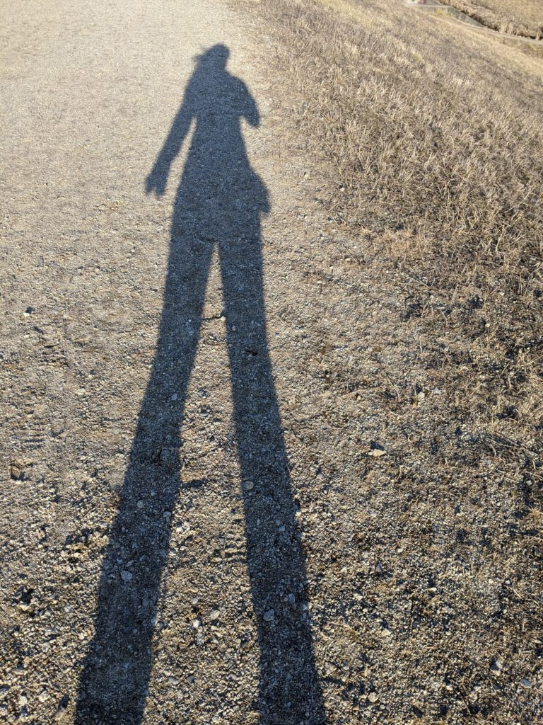 A shadow of a long-haired person on a dirt path, stretched out in the late afternoon sunlight.